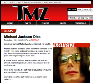 TMZ confirme la mort de Michael Jackson