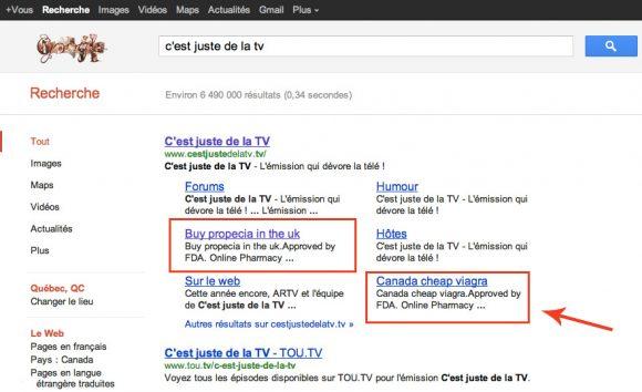 Site internet de C'est Juste de la TV hacké!