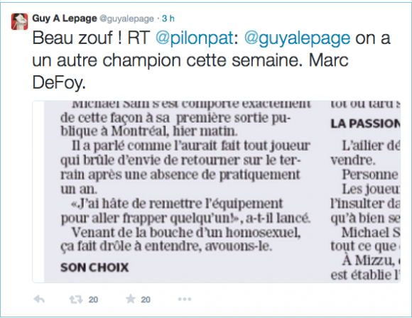 Guy A. Lepage commente l'article de Marc De Foy sur Twitter