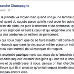 Alexandre Champagne dénonce la violence verbale dont est victime sa femme, Marilou