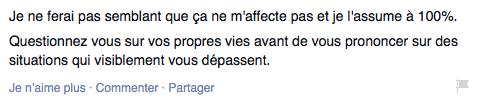 Fin du statut Facebook d'Alexandre Champagne