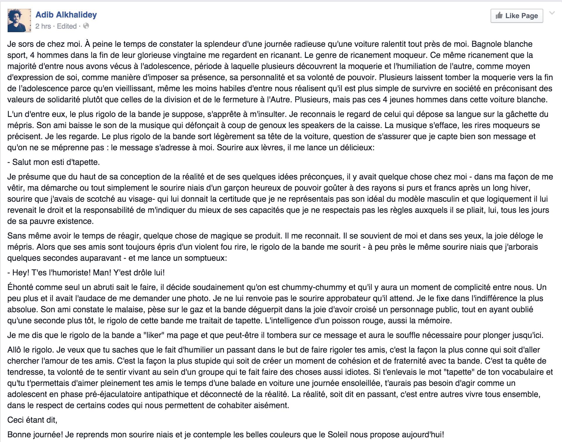 Commentaire d'Adib Alkhalidey sur Facebook